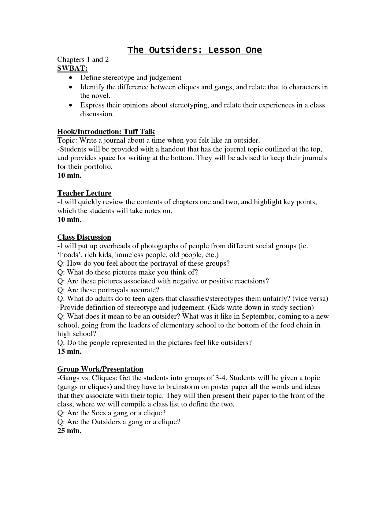 The Outsiders Literature Guide Secondary Solutions Answers